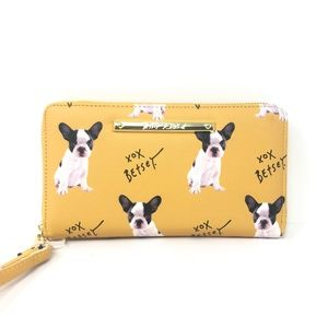 Betsey Johnson Zip Around Wristlet Wallet Bulldog